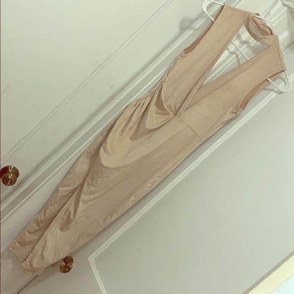 Fashion Nova Dresses & Skirts - Nude Suede High Split Dress
